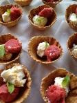 mojito ice cream and strawberry sorbet