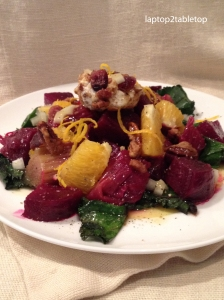 roasted rhubarb and beet with wilted greens,goat cheese and citrus vinaigrette