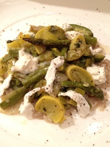grilled leeks, asparagus, summer squash and zucchini with burratta