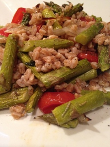 roasted asparagus, tomato and farro salad