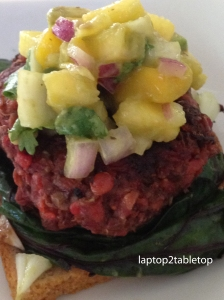 beet burger with avocado-mango salsa