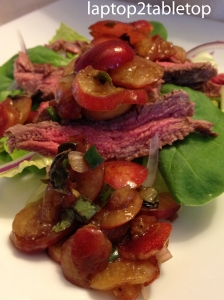 cherry salsa and steak salad