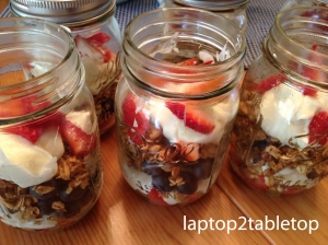 homemade granola with fruit and mascarpone