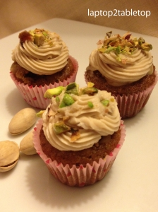 pistachio cupcake with mascarpone fig filling and raspberry balsamic buttercream