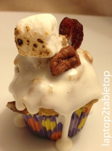 sweet potato cupcake with apple butter mascarpone filling and marshmallow ganache