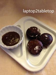 peanut butter-mascarpone filled chocolate ebelskivers