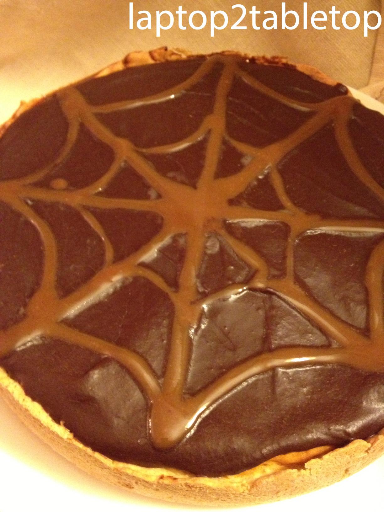 can of pumpkin puree to the cake, I made chocolate and caramel ganache ...