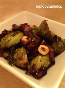 maple glazed pancetta and brussels sprouts