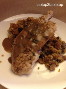 pumpkin cornbread stuffing, grilled turkey and EVOO gravy