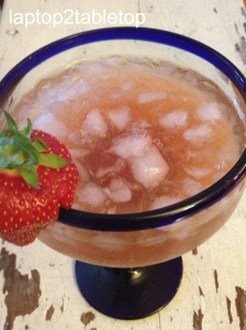 margarita made with strawberry-rhubarb simple syrup