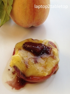 grilled peach and camembert