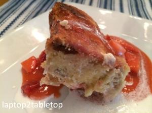 strawberry rhubarb bread pudding plate