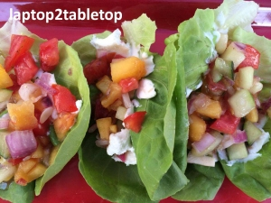 goat cheese and peach salsa butter lettuce wraps