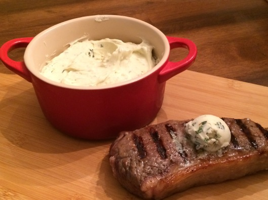 grilled bison with bleu cheese butter
